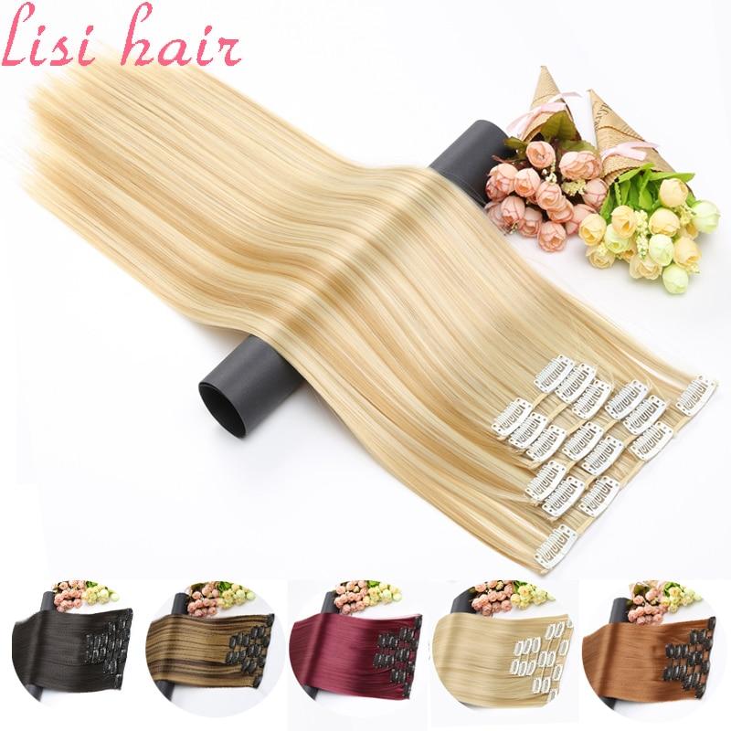 Синтетические волосы LISI, 16 зажимов для наращивания волос, длинные прямые накладные волосы, накладные волосы на заколках для наращивания вол...