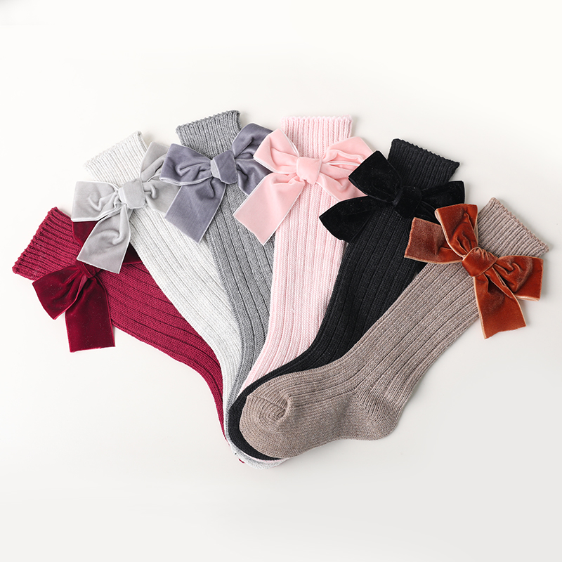Cotton Girls Socks With Bows Knee High Socks For Girl Princess Style Cute Newborn Baby Sock Long Winter Children Socks