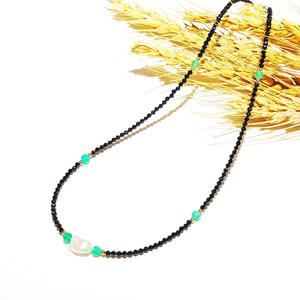 Image 5 - Black Spinels Baroque Pearl Onyx Beads Gold Filled Necklace Popular Bohemian Hawaii Clavicle Jewelry for Women Nice Gift 39 44cm