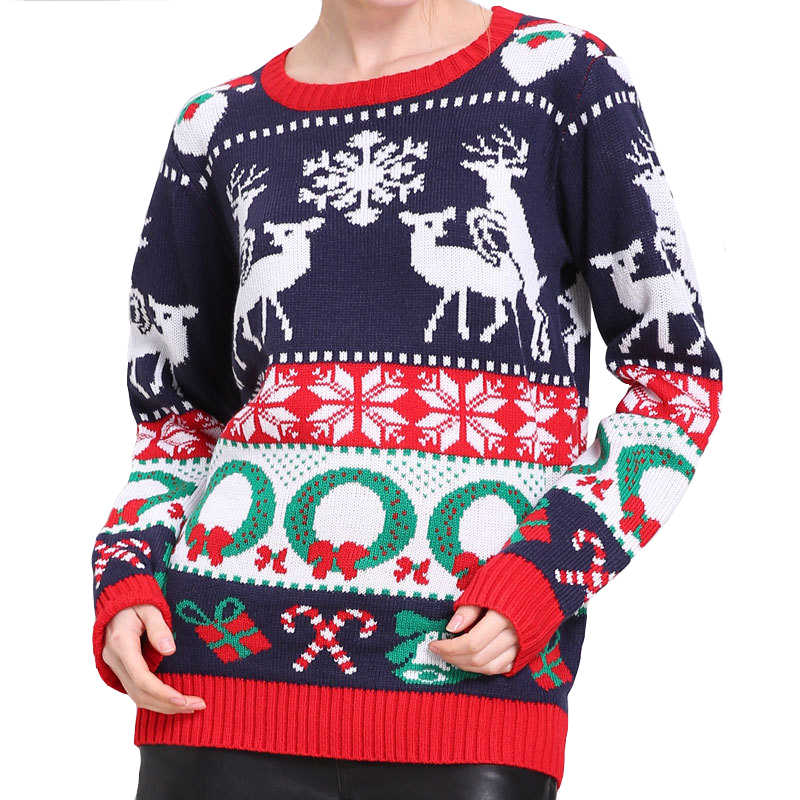 Knitted Tacky Humping Reindeer Ugly Christmas Sweater for Women Funny Female Christmas Party Knit Pullover Ugly Xmas Jumper