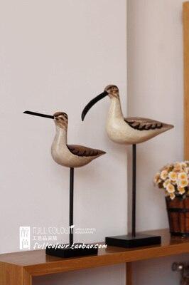 Américain Rural méditerranéen bois massif sculpture bois oiseaux de mer deux pièces artisanat/décorations pour la maison artisanat statues à la maison