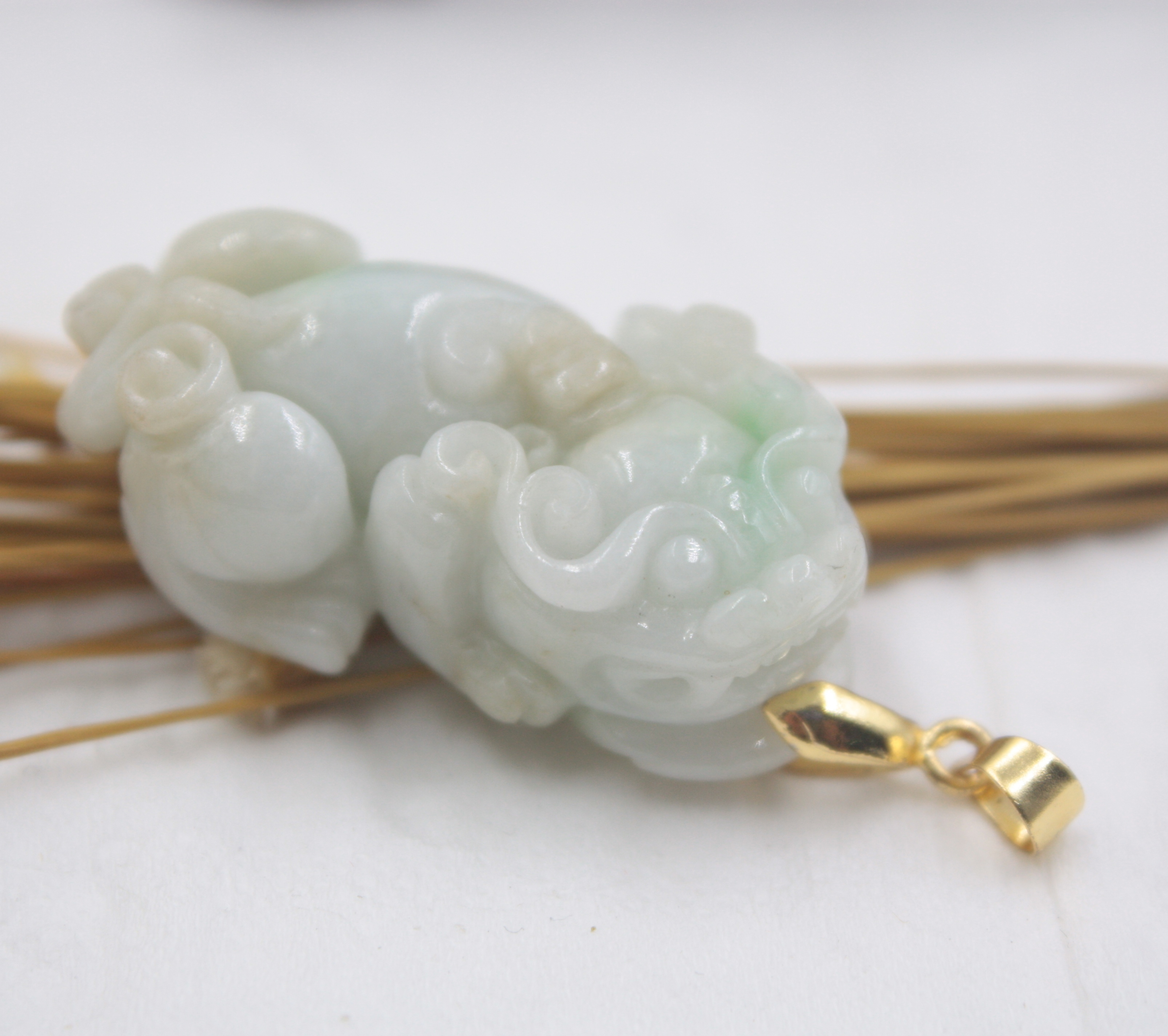 natural hand-carved Chinese white jade pendant dragon phoenix 2pc