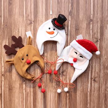 Maluch dziecko boże narodzenie kapelusz śliczny renifer świętego mikołaja bałwanek ciepła czapka Beanie na zimę czapka z nausznikami dla chłopców i dziewcząt tanie i dobre opinie Unisex Dzieci CN (pochodzenie) Cartoon Poliester