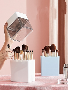 2 In 1 Dustproof Portable Makeup Brush Holder Cosmetic Brush Air Drying Storage Box Container Pen Holder Desktop Makeup Storage 3 size empty portable travel makeup brushes round pen holder cosmetic case pu leather cup brush holder tube storage organizer