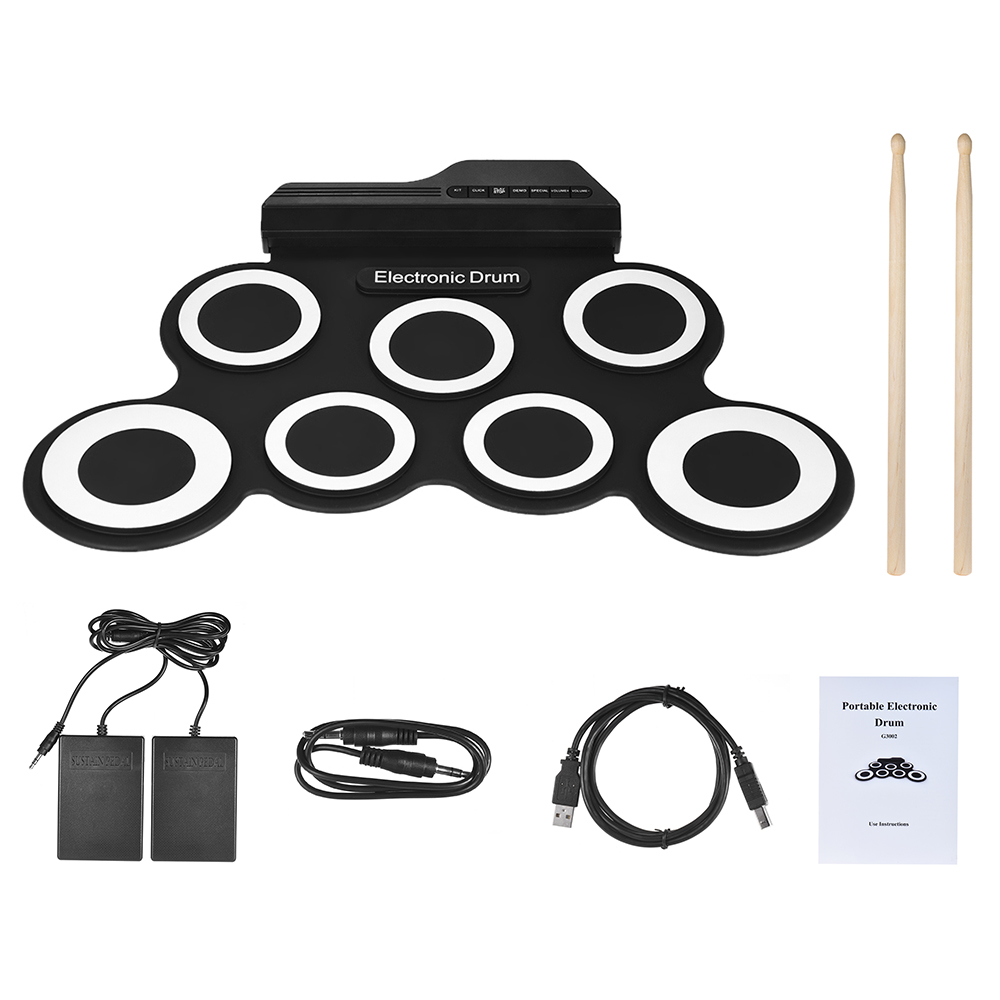 Portable Electronic Drum Digital USB 7 Pads Roll up Drum Set Silicone Electric Drum Pad Kit With DrumStick Foot Pedal percussion(China)