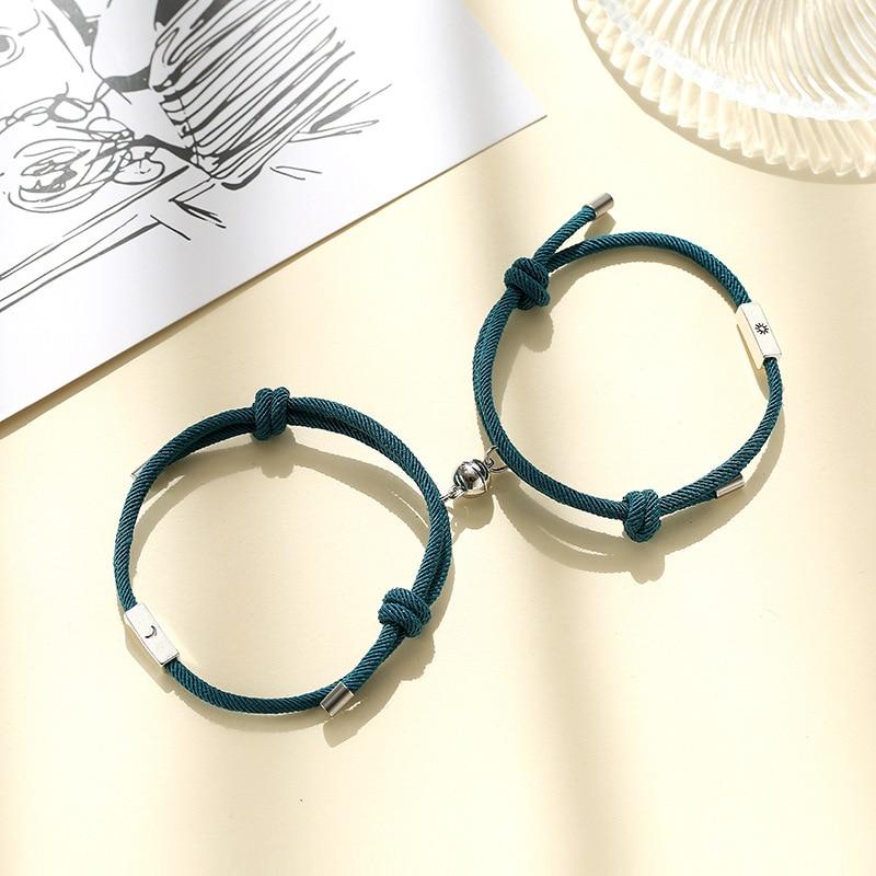 Fashion 2pcs/pair Magnet Bracelet Couple Creative Sun Moon Distance Paired Braslet Adjustable Red String Brazalete Lovers Gift