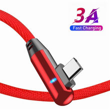 Mobile Phone USB C LED Quick Charger Wire 90 Degree USB Type C Cable 3A Fast Charging Data Cord For Samsung Huawei Redmi Note 9