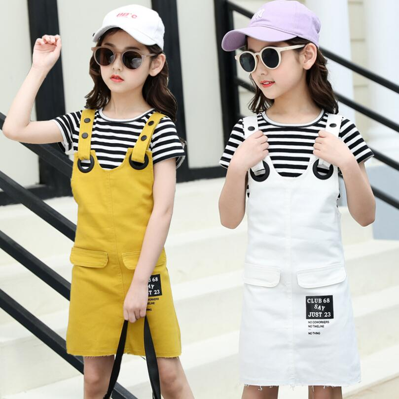 girls dress summer short suspender trouser+shirt 2pcs/set baby girls clothes sets fashionable kids jeans shorts 3-15T kids pant 1
