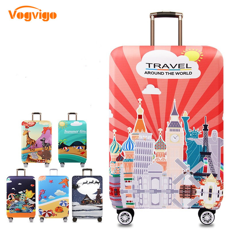 VOGVIGO World Map Printed Luggage Protective Covers Travel Suitcase Cover Elastic Dust Case For 18-32 Inches Travel Accessories