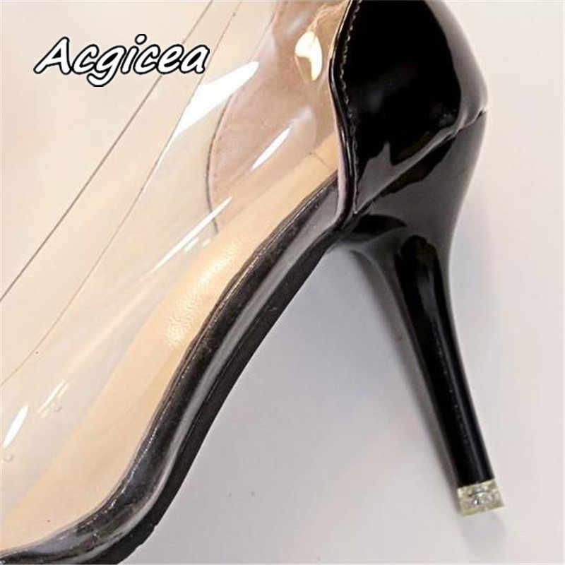 Phụ Nữ Bơm 2020 Trong Suốt Giày Cao Gót Gợi Cảm Mũi Nhọn Trơn Tiệc Cưới Giày Cho Nữ Da Báo F125