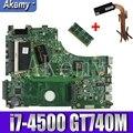 Для For Asus A750J K750J K750JB X750JB X750JN материнская плата для ноутбука тест 100% ОК i7-4500 GT740M/2 ГБ свободный радиатор + 4 Гб RAM