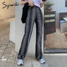 Jeans Womens Syiwidii Patchwork Blue Stripe Straight-Side High-Waist Denim Spliced Tie-Dye