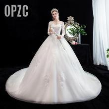 Fashion simple V Neck Backless Wedding Dress 2020 New Arrvial long sleeve train 100 cm Applique princess Brida Robe De Mariee