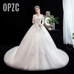 Image 1 - Fashion simple V Neck Backless Wedding Dress 2020 New Arrvial long sleeve train 100 cm Applique princess Brida Robe De Mariee