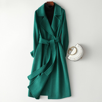 New Arrival 100% Wool Coat Brand Winter Woolen 2020 Thick Cashmere Solid Female Green Overcoat Sashmere Long