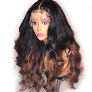 Ombre 250 Density Lace Wig 1B Brown Colored Lace Front Human Hair Wigs for Black Women 13x6 Deep Part Airuiao Remy Loose Wave(China)
