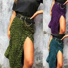 Women's Skirt High Waist Shift Divide Midi Women's Leopard G