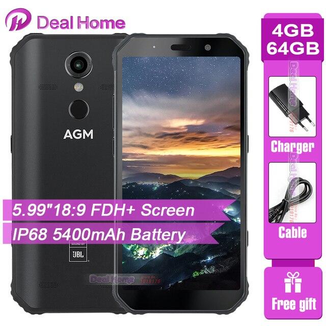 "AGM A9 IP68 JBL Co Branding 5.99"" Screen 4GB RAM 64GB ROM JBL Tuned Speakers Smartphone Android 8.1 5400mAh NFC OTG Mobile Phone"