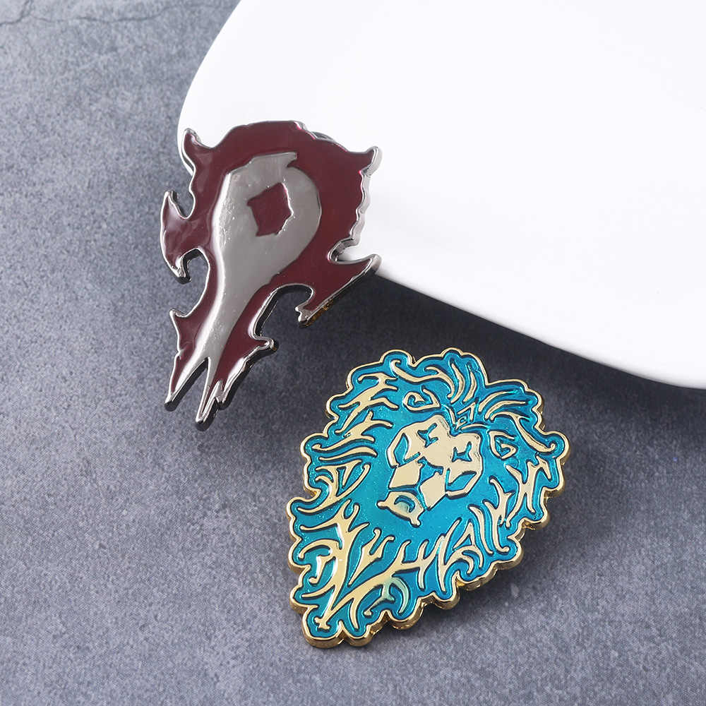 Game World of Warcraft Tribal Logo Pins Brooches Alliance Horde WOW Badge Brooch for Women Men Jewelry Gift