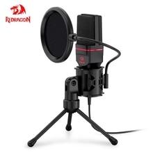 Redragon GM100 Seyfert Omni Condenser Microphone With Tripod Audio 3.5mm Computer Studio For PC Phone Karaoke Recording phone