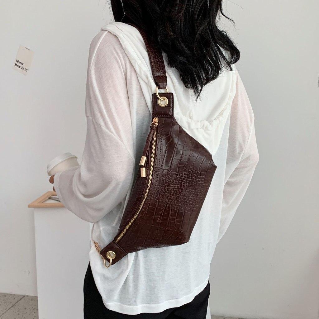 Alligator PU Leather Waist Packs For Women 2019 New Fashion Pockets Chest Bag Casual Shoulder Messenger Bag