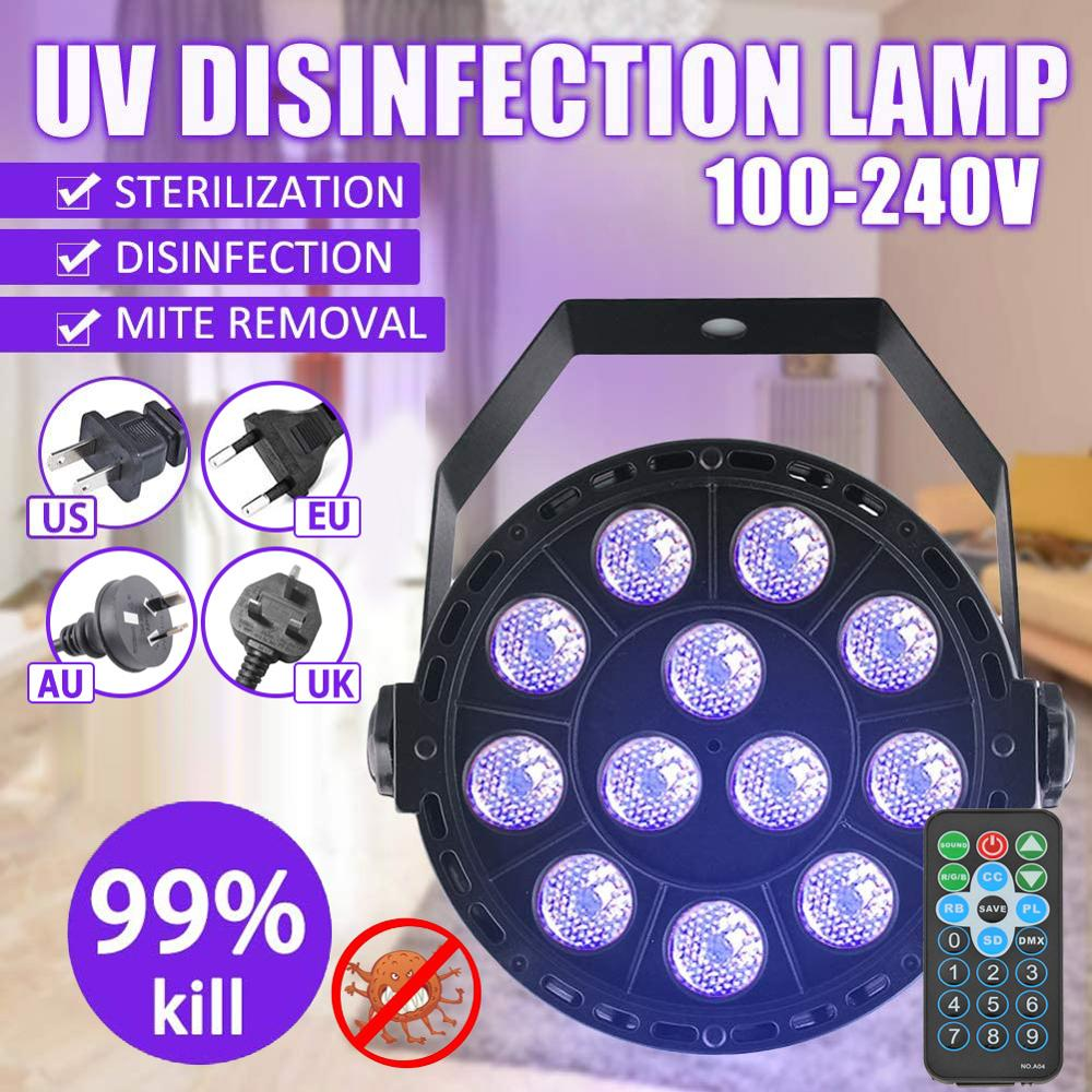 48W 12LED UV Disinfection Lamp Kill Mite Sterilizing Light With Remote Control Bactericidal Lamp Germicidal Disinfect UV Light