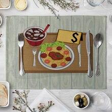 Подставка под столовые приборы коврик для стола с рисунком гамбургеров