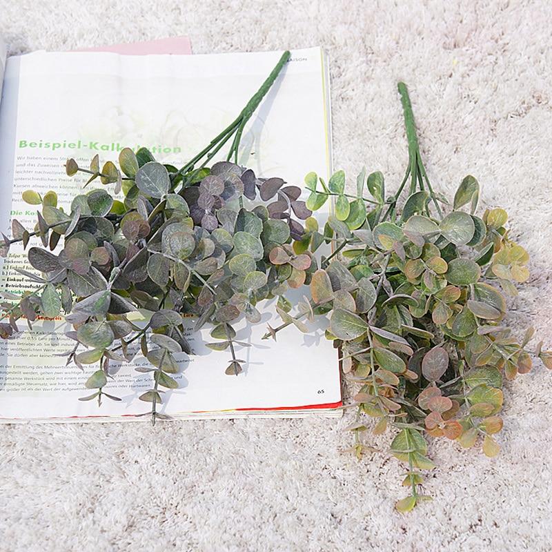 Artificial Plant Eucalyptus Leaves Plastic Green Plants Artificial Fake Flower Home Room Decoration DIY Wedding Bridal Bouquet