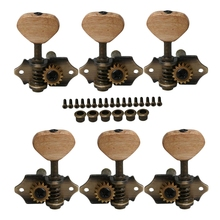 6Pcs Vintage Acoustic Guitar String Tuning Pegs Tuners Acacia Knobs 3R3L Bronze