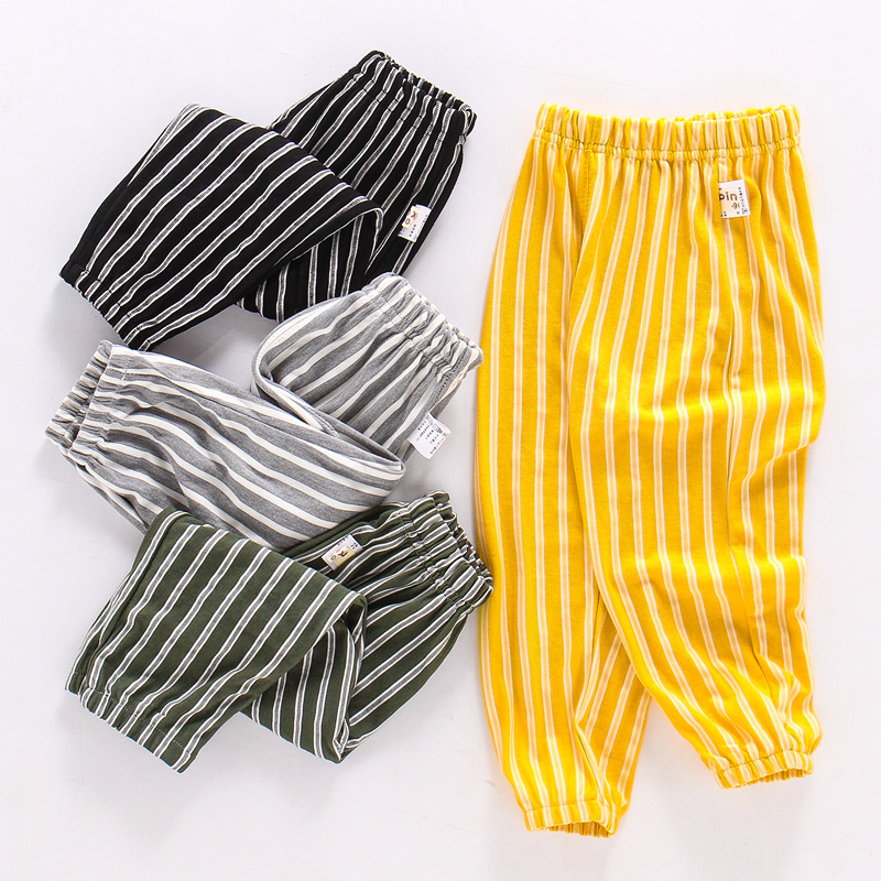 New summer straight striped anti mosquito trousers for children with thin breathable slacks in Pants from Mother Kids