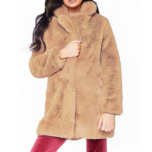 Winter Women Furry Coat Teddy Faux Fur Shaggy Full Turn-down Collar Open Stitch Slim Thick Warm Plus Size Fashion