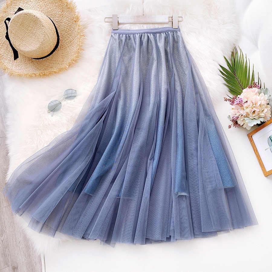 Sherhure 2019 mulheres verão malha saias de cintura alta vintage a linha saia faldas jupe femme saia longa saia saia