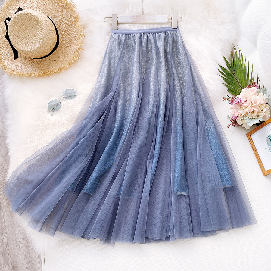 Sherhure 2020 Women Summer Elegant Mesh Long KirtsHigh Waist Boho Three Layer Long Skirt Faldas Jupe Femme Women Skirt Saia