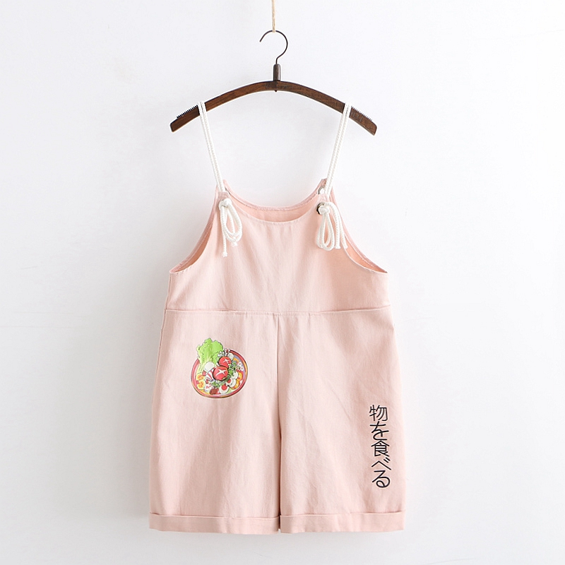 Summer Pink Playsuit Women Kawaii Overalls Japanese Mori Girl Casual Loose Jumpsuit Romper Cute Printed White Straps Shorts 2020