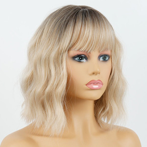 MISS WIG Short Water Wave Synthetic wig 23 Colors Available Wigs For Women Heat Resistant Fiber Female Daily False Hair(China)