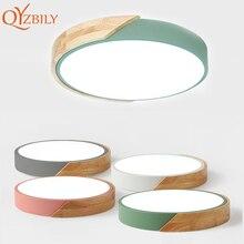 Ledシーリングライト超薄型現代天井ランプ北欧調光可能な木製リビングルームラウンド照明器具表面実装