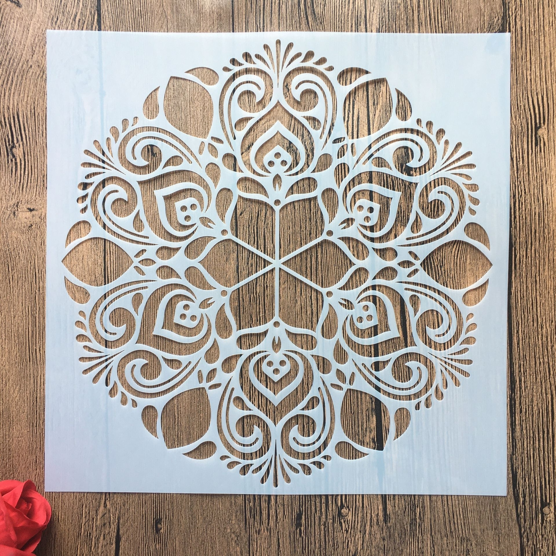 30 * 30 Cm Large Round Flower Mandala Diy Stencil Painting Scrapbook Coloring Engraving Album Decoration Template Stencil