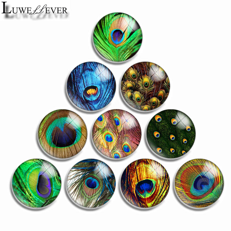 12mm 10mm 16mm 20mm 25mm 30mm 561 Peacock Feather Mix Round Glass Cabochon Jewelry Finding 18mm Snap Button Charm Bracelet