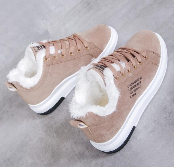Winter Women Shoes Warm Fur Plush Lady Casual Shoes Lace Up Fashion Sneakers Zapatillas Mujer Platform Snow Boots