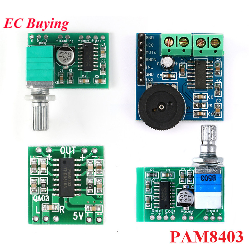 PAM8403 <font><b>Amplifier</b></font> Board Module Mini 2.5V to 5V <font><b>2x3W</b></font> Digital Power Audio 2 Channel 3W Volume Control USB Power Supply For Arduino image