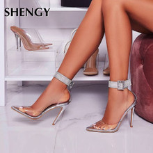 SHENGY Fashion PVC Transparency Women Pumps High Heels Women Shoes Diamond Pointed Toe Classics Silver Ladies Pumps Sandals(China)