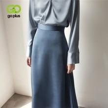 Women's Skirt Korean Style A-line Satin Blue Black High Waist Ankle Length Woman Skirts Mujer faldas Femme Jupes Saias Mulher