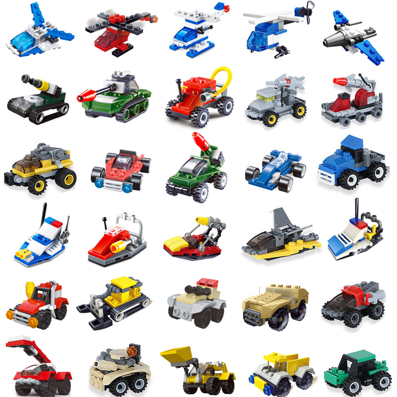 25pcs Mini Building Blocks Tank Airplane Car Accessories Technic City Military Bricks Toys For Childrens