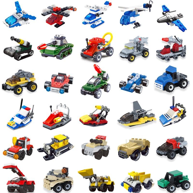 >25pcs Mini Building Blocks Tank Airplane <font><b>Car</b></font> accessories Compatible <font><b>legoingly</b></font> Technic City Military Bricks Toys for childrens