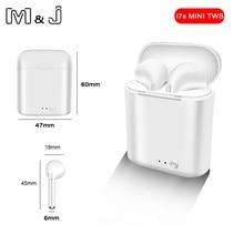 حار بيع M & J i7 بلوتوث صغير 5.0 TWS سماعة لاسلكية صغيرة مع صندوق شحن سماعة رأس ستيريو لجميع الهواتف