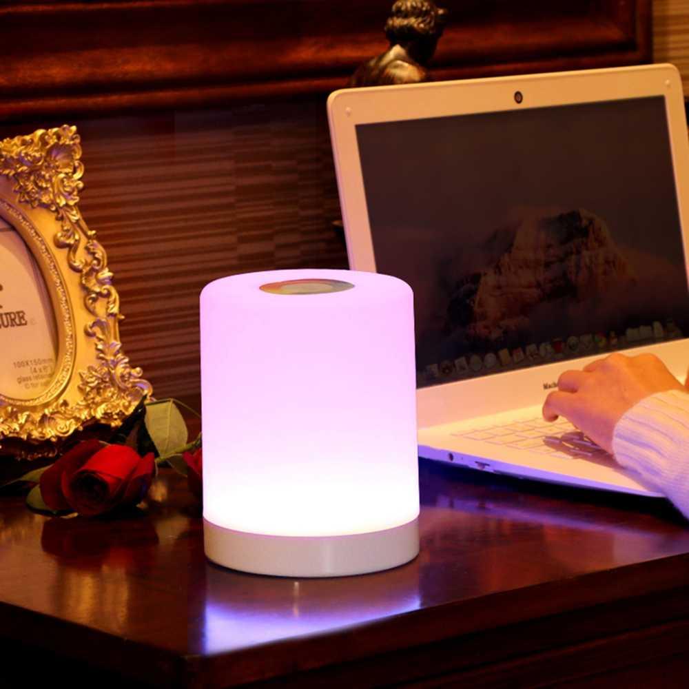 Usb inteligente lâmpada de cabeceira led candeeiro de mesa nightlight criativo cama luz da mesa para o quarto cabeceira lampe cama inteligente luzes da noite presentes