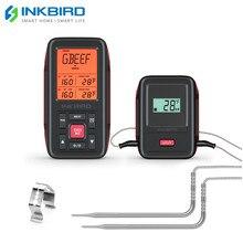 Inkbird uzaktan kablosuz ev kullanımı RF termometre IRF 2SA 500 Feet pişirme barbekü izgara fırın sigara içen iki gıda sınıf probları