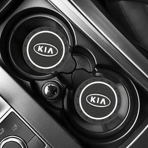 Image 1 - 2pcs רכב אוטומטי מים כוס חריץ החלקה מחצלת אביזרי עבור KIA sportage ceed kia sorento אביזרי 2017 2018 אביזרי רכב