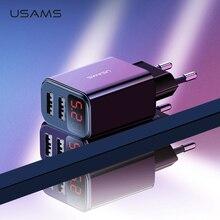 USAMS LED Digital Dual USB Charger Universal EU US Plug 2.1A Fast Charg
