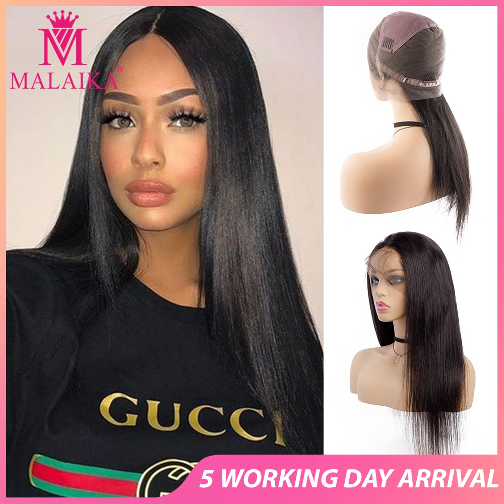 MALAIKA Christmas Glueless Straight Full Lace Human Hair Wigs Women Baby Hair Light Straight Full Lace Wig Brazilian Bleached Kn